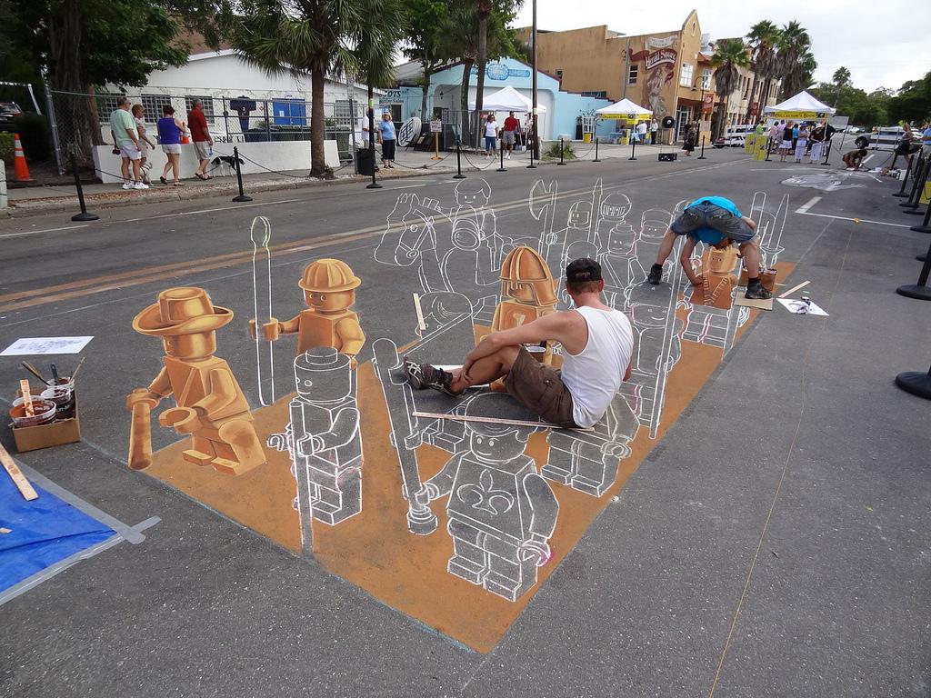 Planet Streetpainting's 3D LEGO Army @ Sarasota Chalk ...
