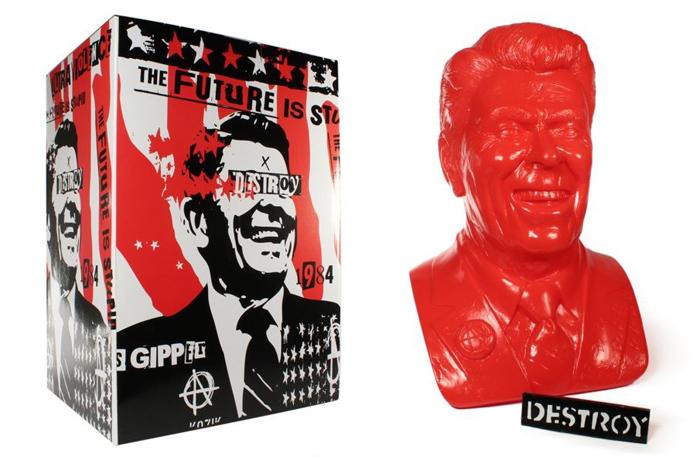 THE GIPPER YELLOW LIMITED EDITION DESIGNER VINYL ART BUST BY ARTIST FRANK KOZIK