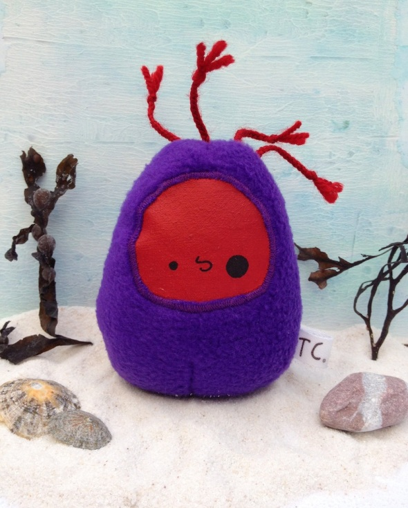 inaria taylored curiosities designer toy plush anemone art doll mixed media red purple sea creature 2