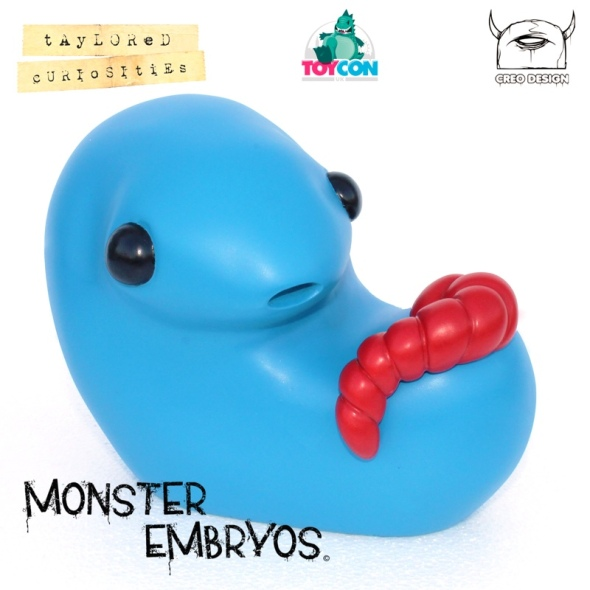 giant monster embryo taylored curiosities brilliant blue designer toy toycon uk 2