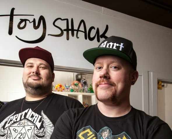 Rob and Luke Triclops at the Toy Shack in Walthomstowe Indoor Market 28/3/14